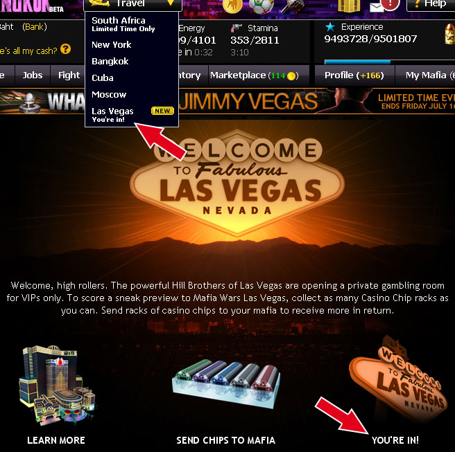 mafia wars las vegas VIP access you're in