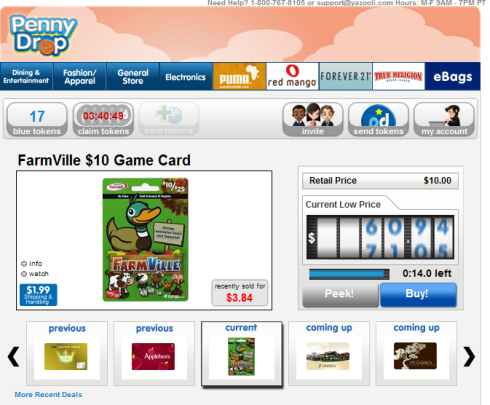 Penny Drop FarmVille $10 Game Card