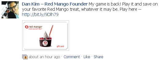 Red Mango Founder Game Wall Post