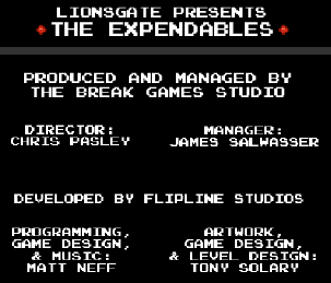 The Expendables 8-Bit Game: Break Games Studios