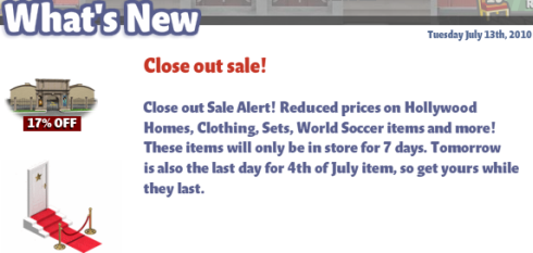 YoVille Close Out Sale