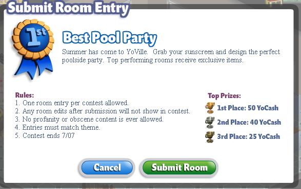 YoVille Submit Room Entry
