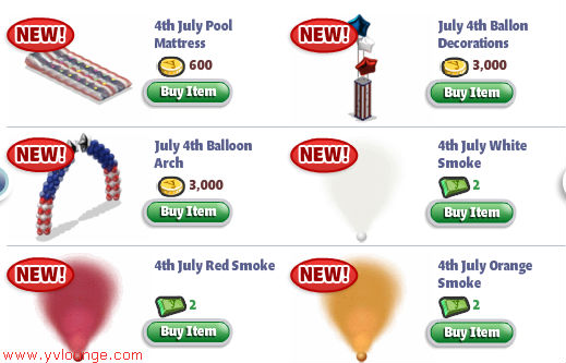 YoVille July 4th items 02