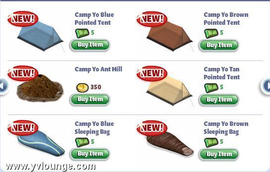 yoville camp yo hiking items