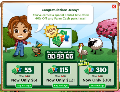 FarmVille: Get 40 percent off Farm Cash purchases today