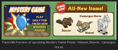 FarmVille Mystery Game Animals: Beaver, Weasel, Camargue Horse