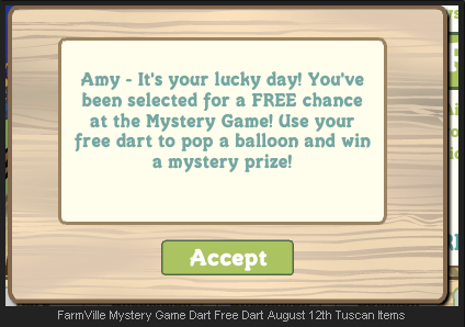 FarmVille Mystery Game free dart