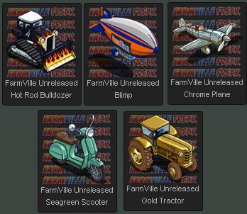 FarmVille Unreleased Hot Rod Bulldozer, FarmVille Blimp, Chrome Plane, Gold Tractor & Seagreen Scooter