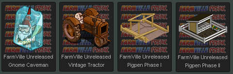 FarmVille Unreleased: Gnome Caveman, Vintage Tractor, Pigpen Phase I, & Pigpen Phase II
