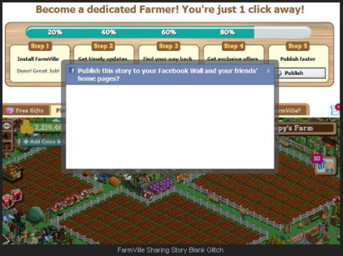FarmVille Publish Story your Facebook Wall Glitch