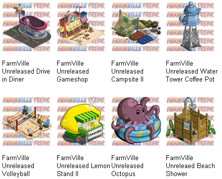 FarmVille Unreleased Drive in Diner, Volleyball, Water Tower Coffee Pot, Gameshop, Campsite II, Lemon Stand, Octopus, & Beach Shower