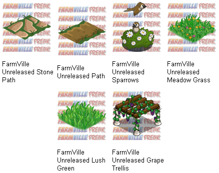 FarmVille Unreleased Stone Path, Path, Sparrows, Meadow Grass, Lush Green & Grape Trellis