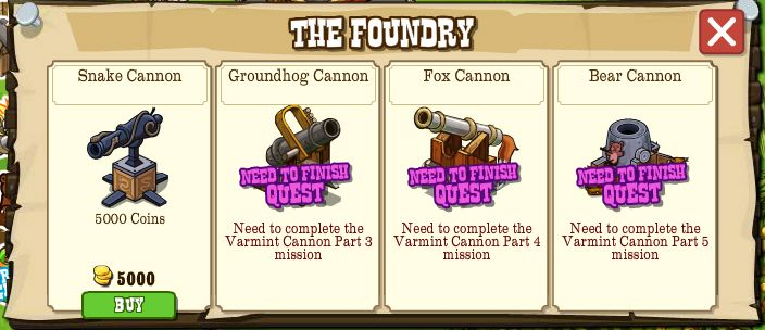 frontierville foundry cannon collection