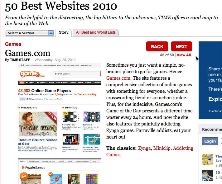 games.com TIME's 50 Best Websites list