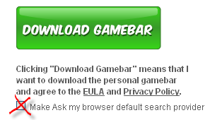 Crowdstar Gamebar uncheck Ask box