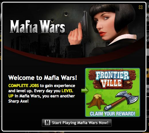 mafia wars frontierville sharp axe cross promo