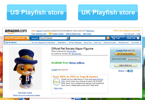 Playfish selling Pet Society Mayor statue on Amazon