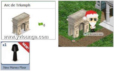 YoVille Mystery Pack Items: Arc de Triumph and New Money Floor