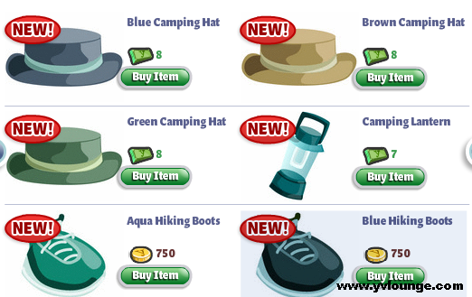 YoVille goes Camping Hats