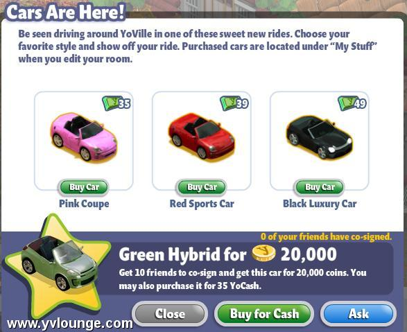 YoVille Cars are here: Pink Coupe, Red Sports Car, Black Luxury Car, Green Hybrid