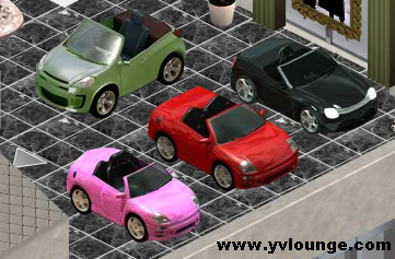 YoVille cars parked in a show room