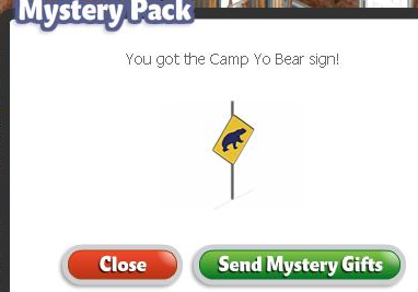 YoVille Green Mystery Pack- Camp Yo Bear Sign