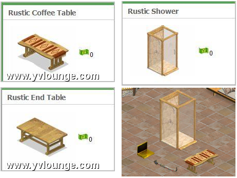 YoVille Mystery Pack Item: Rustic Coffee Table, End Table, and Rustic Shower