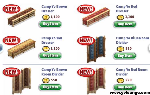 YoVille Camp Yo Bedroom Dressers