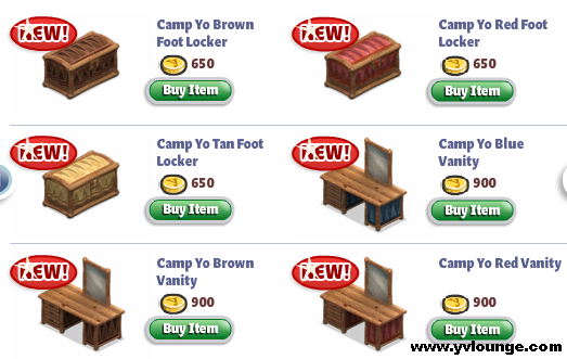 YoVille Camp Yo Bedroom Lockers and Vanity