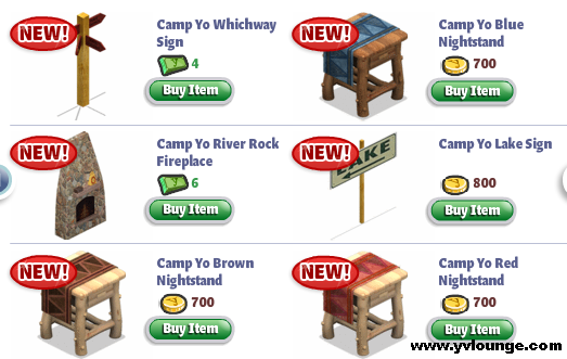 YoVille Camp Yo Bedroom Signs, Fireplace, Nightstand