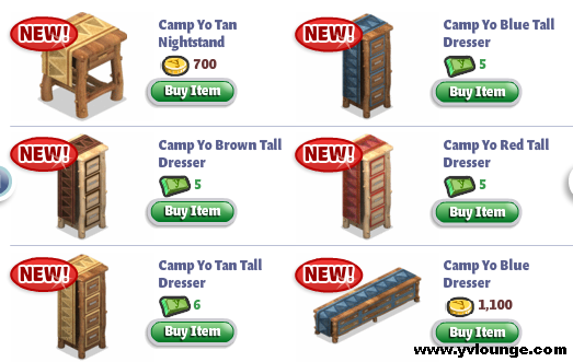 YoVille Camp Yo Bedroom more Dressers