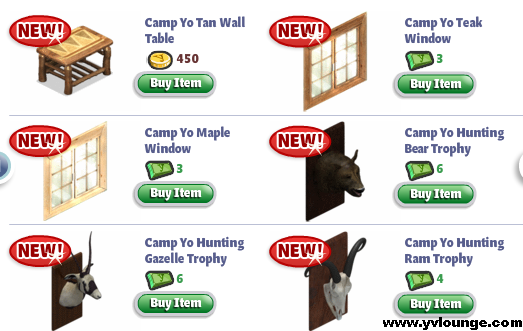 YoVille Camp Yo Bedroom Table, Windows, Trophy