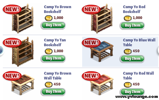 YoVille Camp Yo Bedroom Bookshelf, Tables