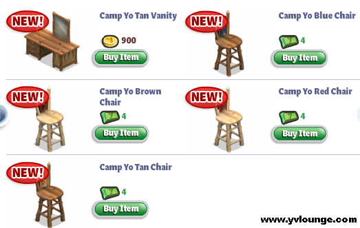 YoVille Camp Yo Bedroom Vanity, Chairs