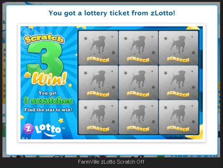 FarmVille zLotto Scratch Off