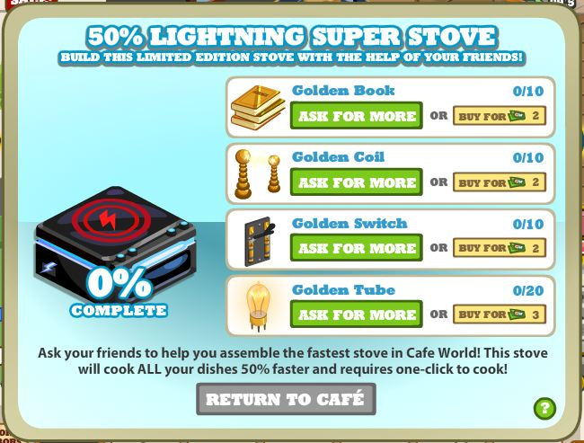cafe world 50% lightening super stove