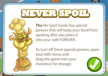 Cafe World No Spoil Genie info