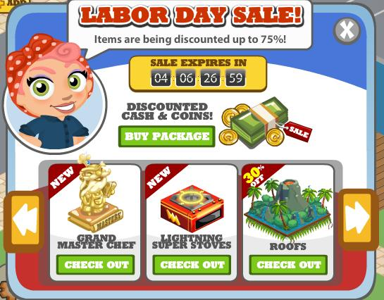 The Cafe World Labor Day Sale
