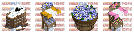 FarmVille unreleased FarmVille German Wood Barrel Tub, Columbine Market Stall, Columbine Bushel, & Dogrose Market Stall items