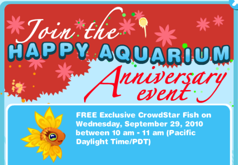Happy Aquarium anniversary Crowdstar Fish