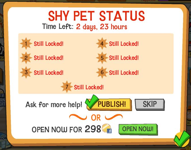 Happy Pets Shy Pet Help Screen