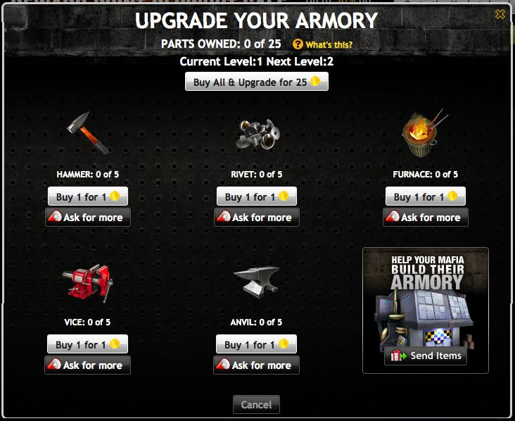 mafia wars armory building materials