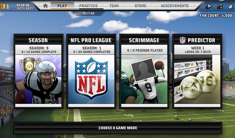 This is the home screen for Madden NFL Superstars