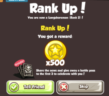 Pirates Ahoy Rank Up rewards