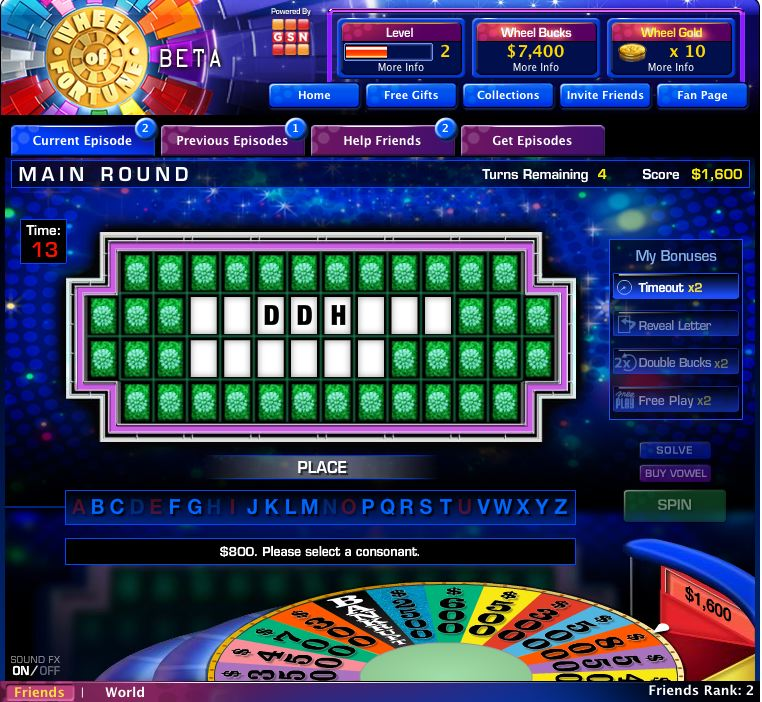 wheel of fortune on facebook