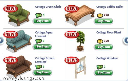 yoville english cottage living room items