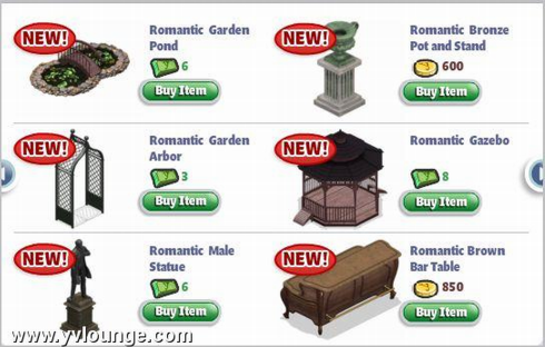 YoVille Romantic Garden Items are now in Furniture Store AOL News
