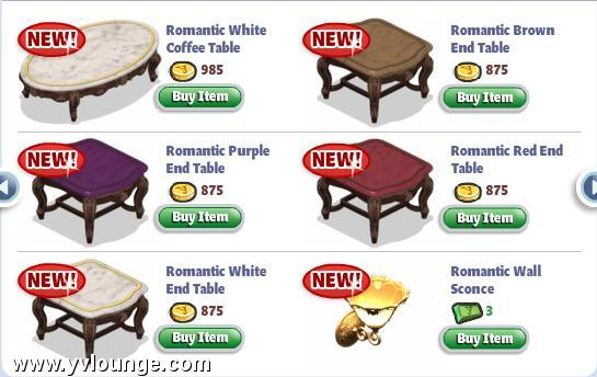 yoville romantic living room items
