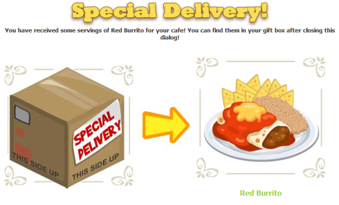 Cafe World Special Delivery Red Burrito