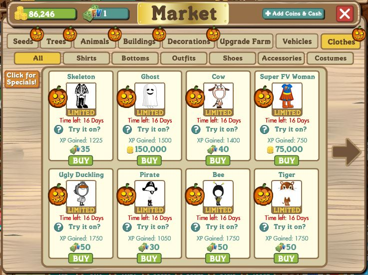 farmville halloween costumes